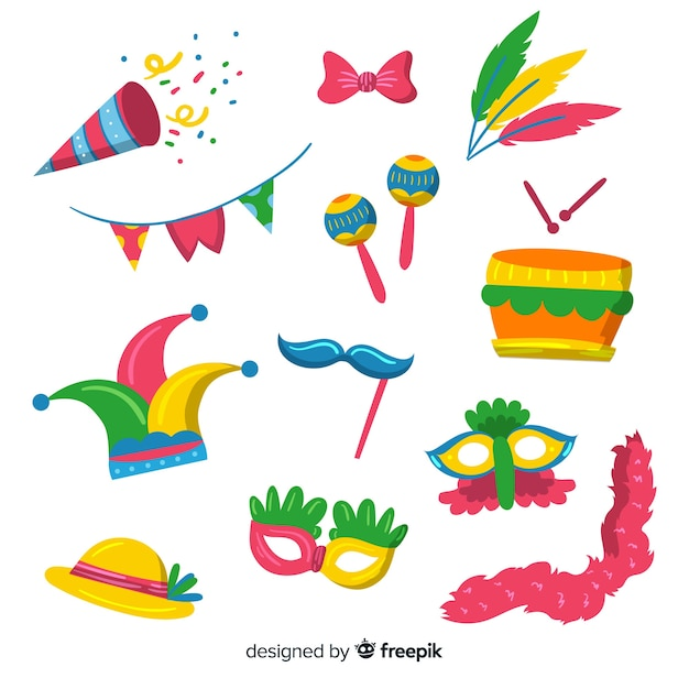 Platte carnaval element collectie Gratis Vector