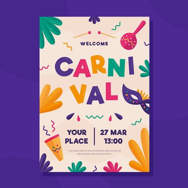 Platte carnaval feest flyer / poster Gratis Vector