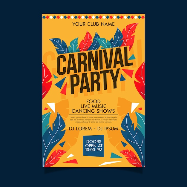 Platte carnaval feest poster Gratis Vector