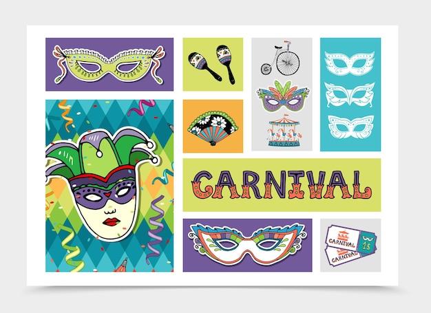 Platte carnaval feestelijke elementen instellen afbeelding Gratis Vector