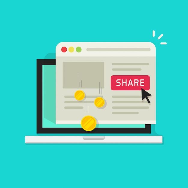 Platte cartoon laptopcomputer met delen knop en geld verdienen van delen op sociale media Premium Vector