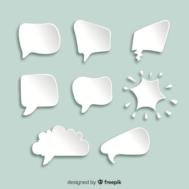 Platte chat cartoon bubbels in papieren stijl Gratis Vector