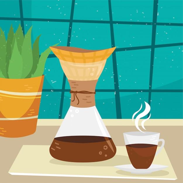 Platte chemex met een kopje koffie in het interieur. alternatieve manieren om koffie te zetten. koffiecultuur. Premium Vector