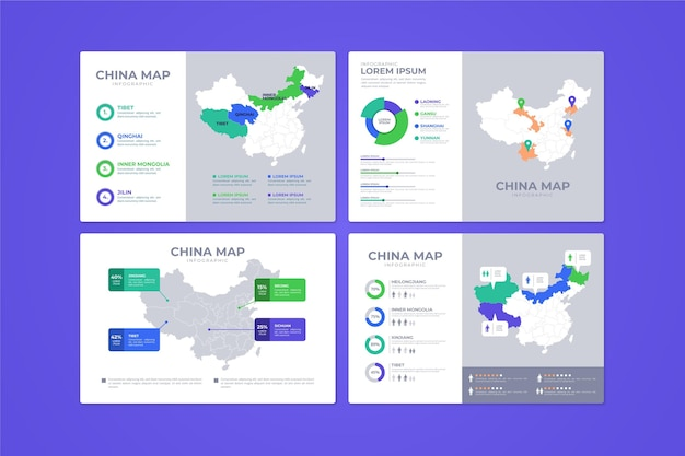 Platte china kaart infographic Gratis Vector