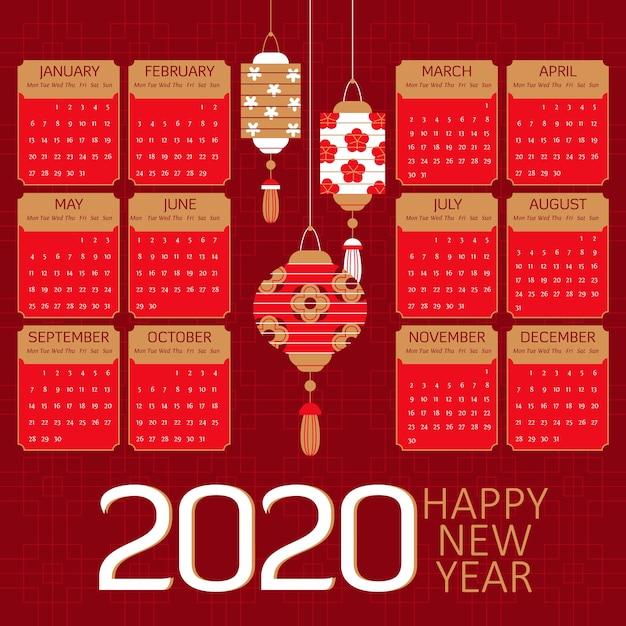 Platte chinese nieuwjaarskalender en rode papieren lantaarns Gratis Vector