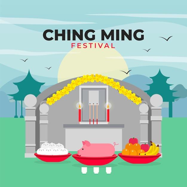 Platte ching ming festival illustratie Gratis Vector