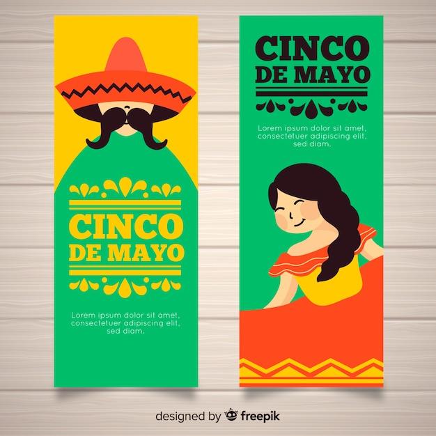 Platte cinco de mayo banners Gratis Vector