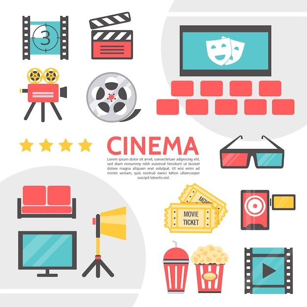 Platte cinematografie iconen collectie met filmstrip filmcamera duig bioscoop zaal film Gratis Vector