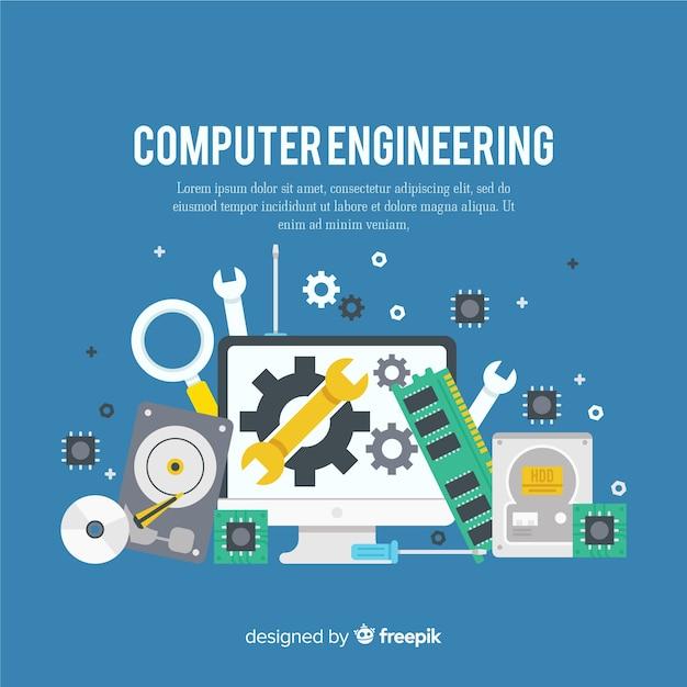 Platte computer engineering concept Gratis Vector