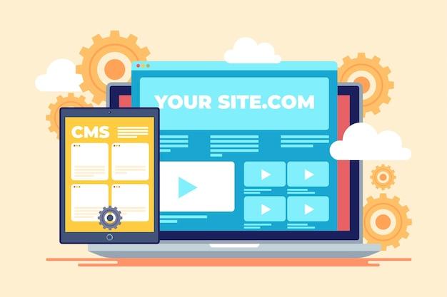 Platte content management systeem concept illustratie Gratis Vector