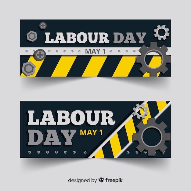 Platte dag van de arbeid banners Gratis Vector