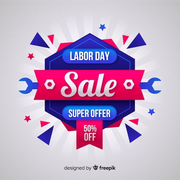 Platte dag van de arbeid verkoop achtergrond Gratis Vector