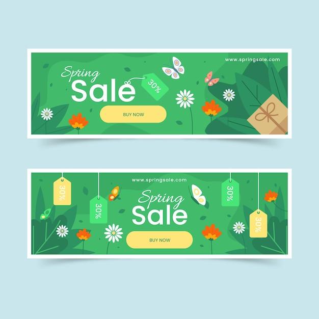 Platte desgin voorjaar verkoop banners Gratis Vector