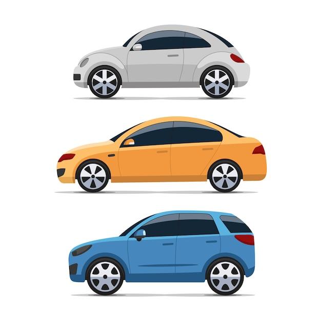 Platte design auto zijaanzicht set Premium Vector