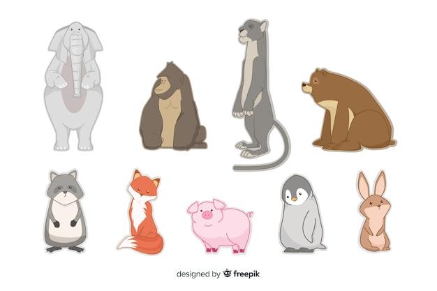 Platte design dierencollectie in kinderstijl Gratis Vector