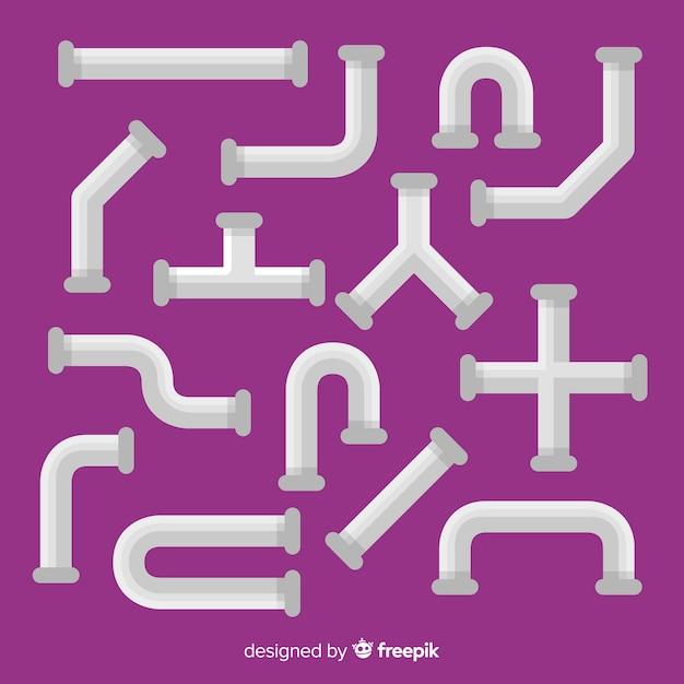 Platte design metalen buizencollectie Gratis Vector