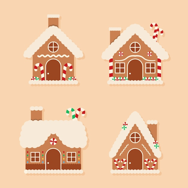 Platte design peperkoek huis collectie Gratis Vector