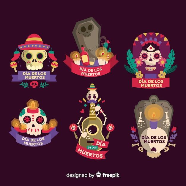 Platte día de muertos badge-collectie Gratis Vector