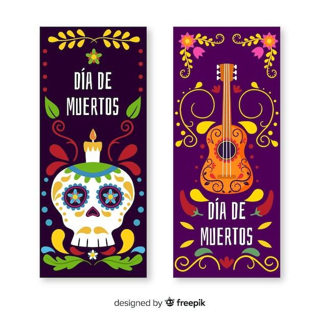 Platte día de muertos banners met gitaar en schedel Gratis Vector