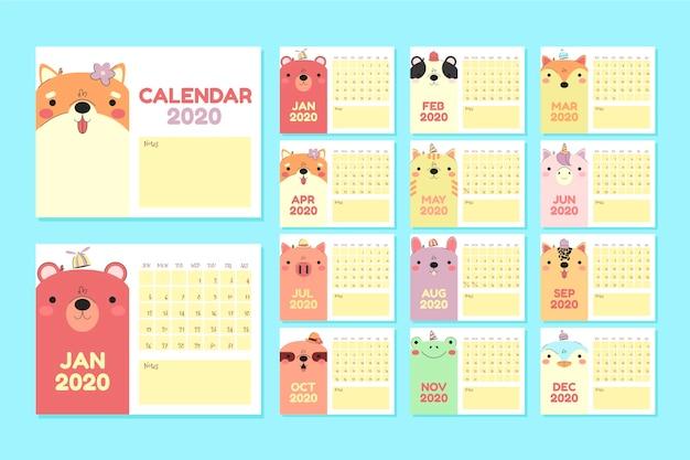 Platte dieren kalender 2020 sjabloon set Premium Vector