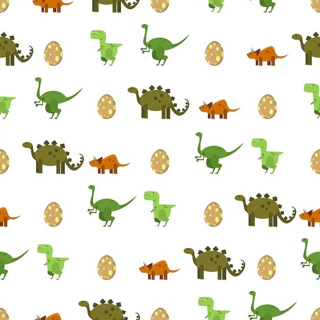 Platte dinosaurussen en ei naadloze patroon op een witte achtergrond. textuur voor print behang, verpakking, verpakking en achtergrond. Premium Vector