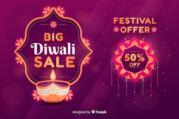 Platte diwali verkoop met kaars Gratis Vector
