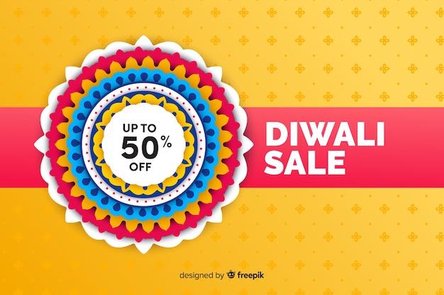 Platte diwali verkoop met korting Gratis Vector