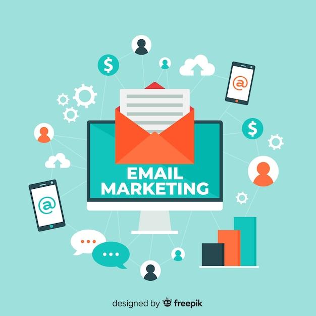 Platte e-mailmarketing Premium Vector