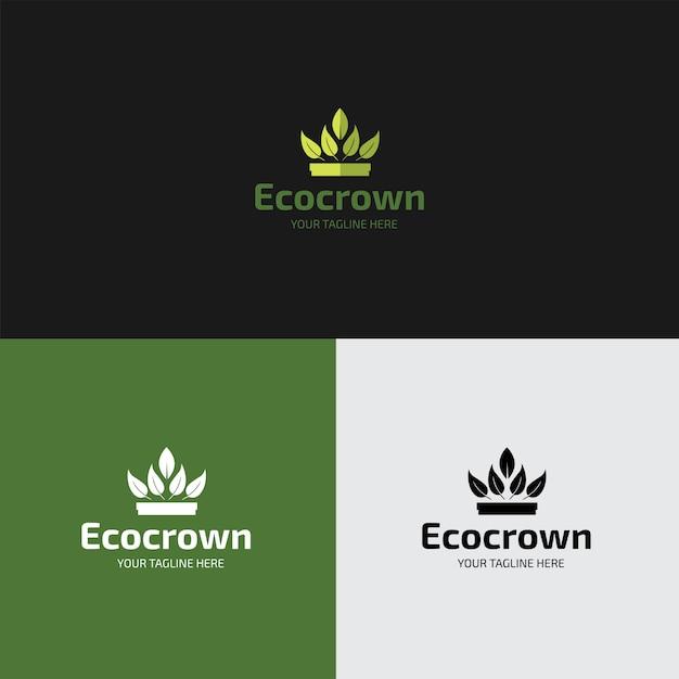 Platte eco crown logo ontwerpsjabloon Premium Vector