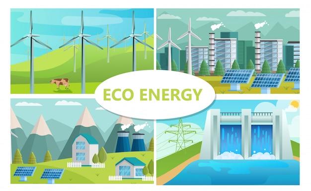 Platte eco-energieconcept met windmolens zonnepanelen ecologische fabriek en huizen waterkrachtcentrale Gratis Vector