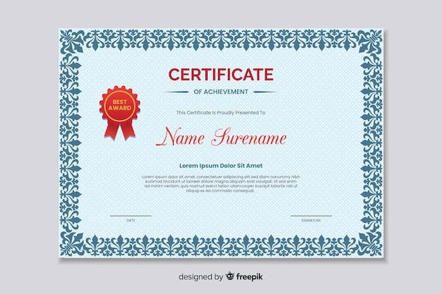 Platte educatieve certificaat van prestatie Gratis Vector