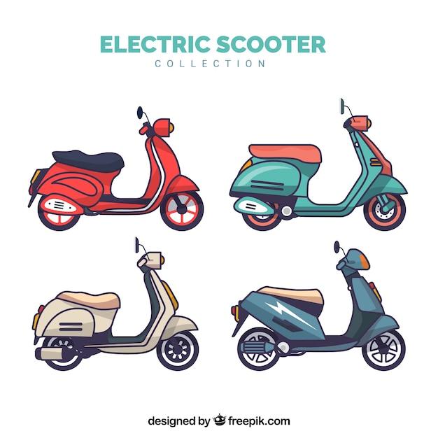 Platte elektrische scootercollectie Gratis Vector