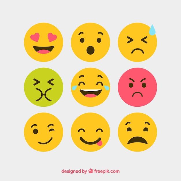 Platte en ronde vector emotie iconen Gratis Vector