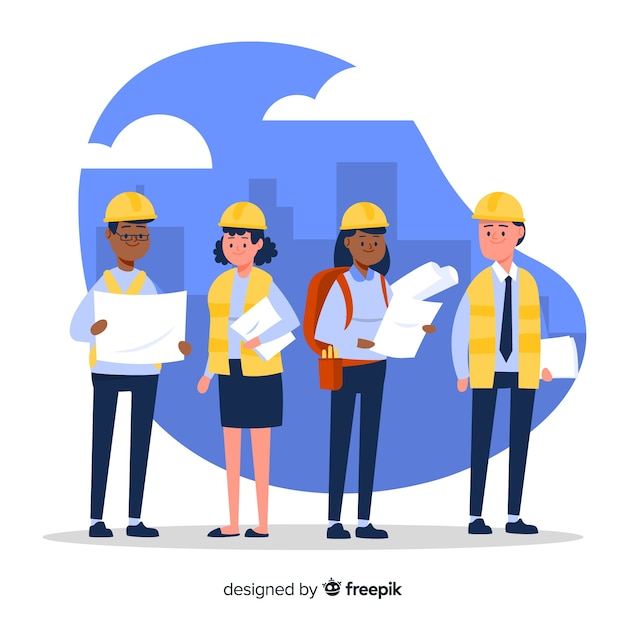 Platte engineering team achtergrond Gratis Vector