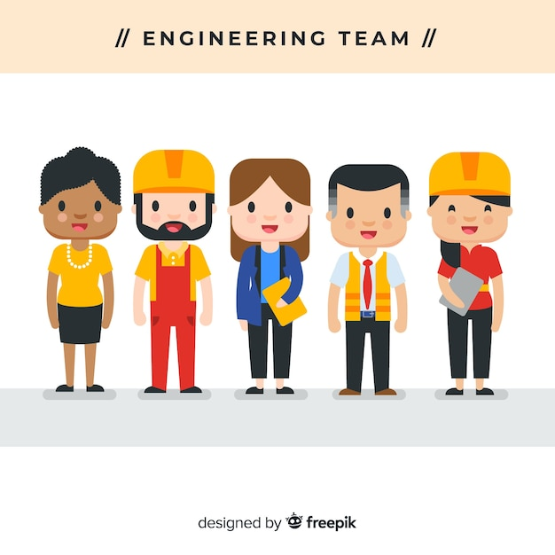 Platte engineering team achtergrond Gratis Vector