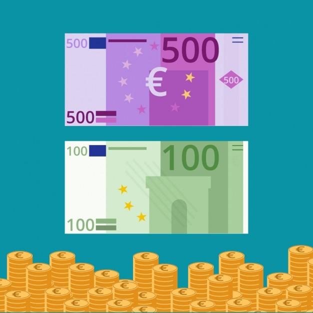 Platte eurobankbiljetten en -munten Gratis Vector