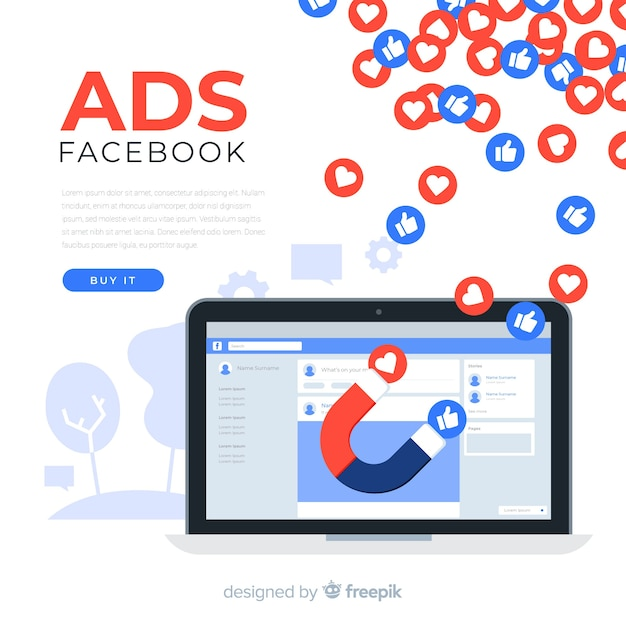 Platte facebook advertenties achtergrond Gratis Vector