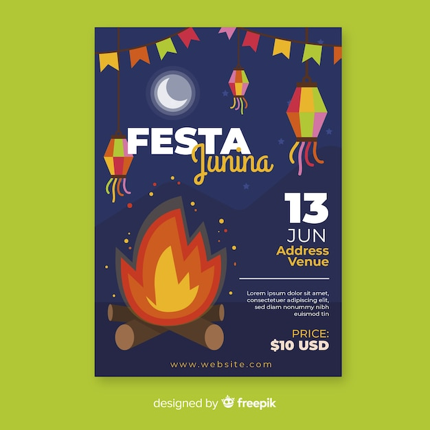 Platte festa junina flyer sjabloon Gratis Vector