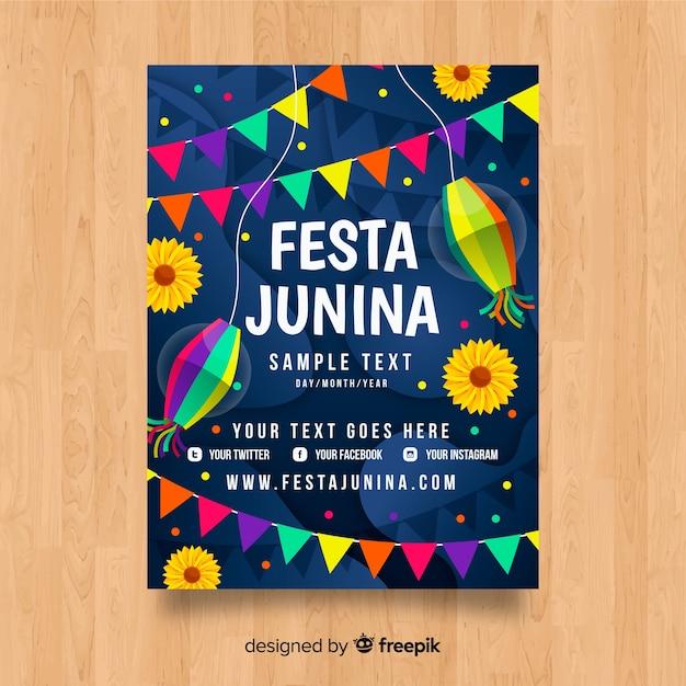 Platte festa junina poster sjabloon Gratis Vector