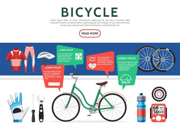 Platte fiets elementen instellen Gratis Vector