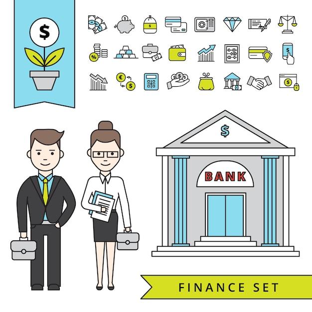 Platte financiële concept Gratis Vector