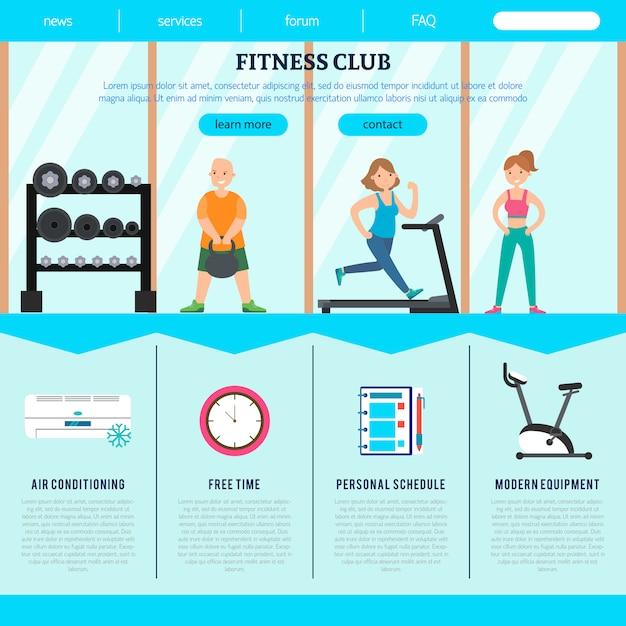Platte fitnessclub webpagina sjabloon Gratis Vector