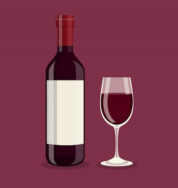 Platte fles en een glas wijn Premium Vector