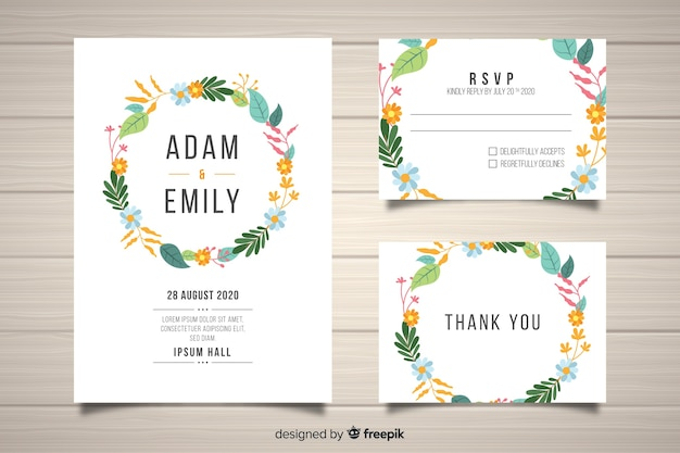 Platte floral bruiloft briefpapier sjabloon Gratis Vector