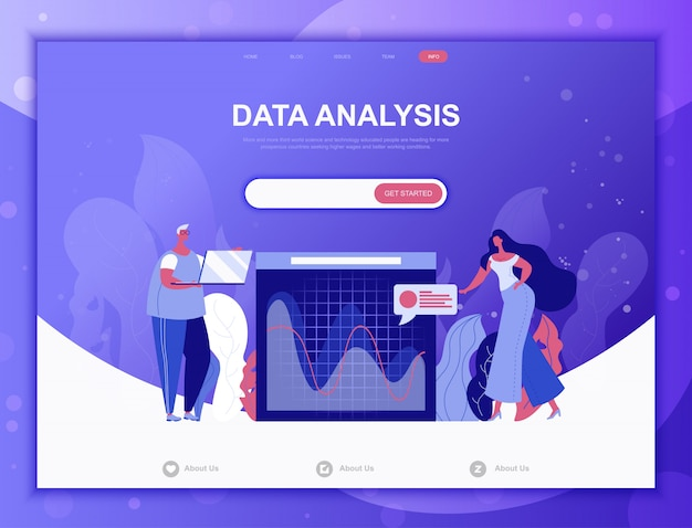 Platte gegevensanalyse concept, landingspagina websjabloon Premium Vector