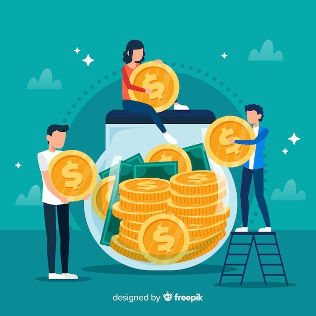 Platte geldbesparende concept achtergrond Premium Vector