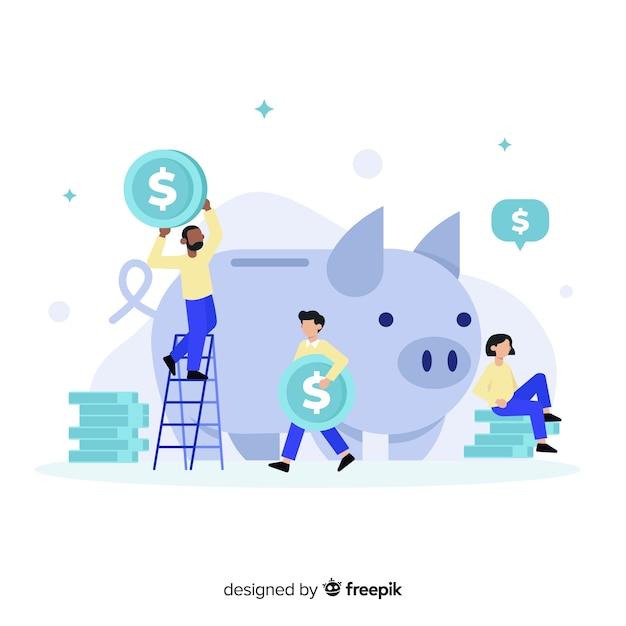 Platte geldbesparende concept achtergrond Gratis Vector