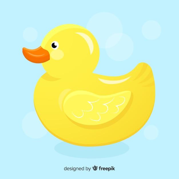 Platte gele badeend Gratis Vector