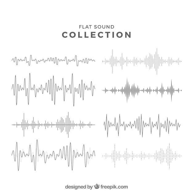 Platte geluidsgolf collectie Gratis Vector
