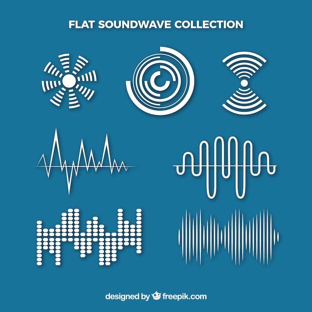 Platte geluidsgolven met verschillende ontwerpen Premium Vector